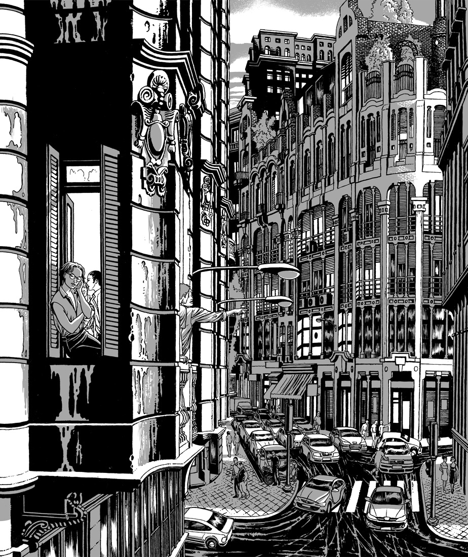 "alt=""ilustracion miguel navia chueca calle clavel"""