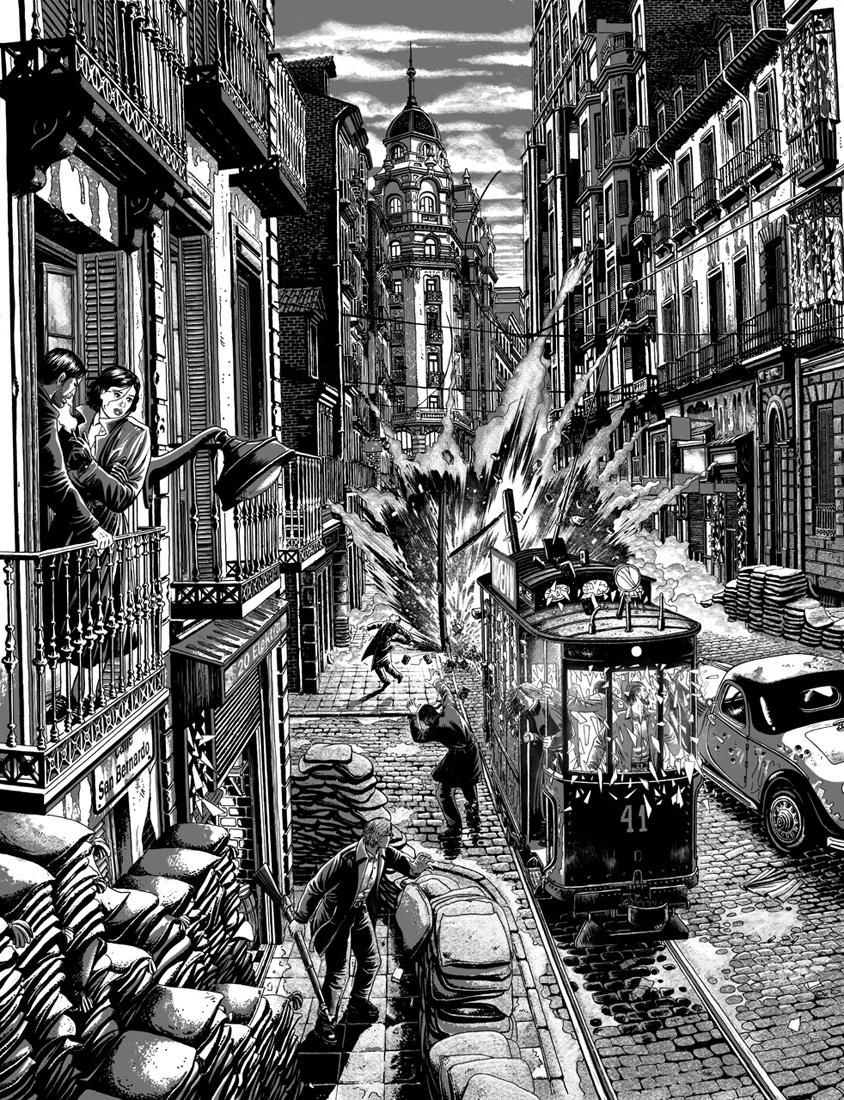 """alt=""""ilustracion miguel navia guerra civil española para elektra comics madrid"""""""