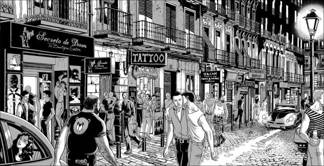"alt=""ilustracion miguel navia chueca calle pelayo"""