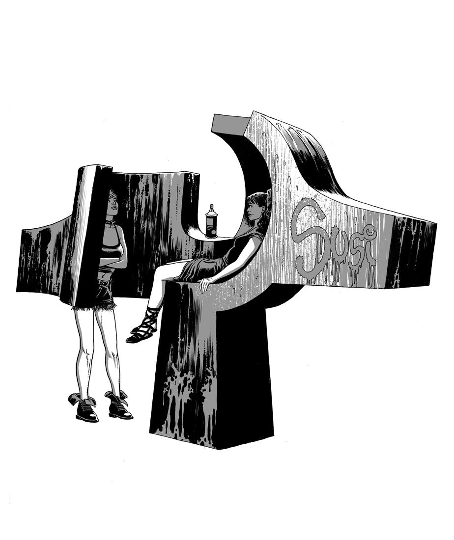 """alt=""""ilustracion miguel navia chueca escultura chillida"""""""
