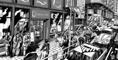 """alt=""""ilustracion miguel navia gran via madrid casa del libro"""""""
