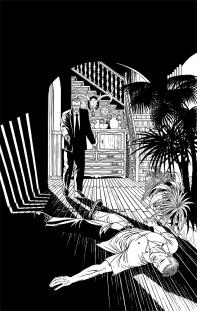Versión a tinta de portada para la novela negra de Andreu Martín dentro de la serie sobre la detective privado Sonia Ruiz, la imagen muestra a una agente del CNI tras disparar a su compañero que ha muerto