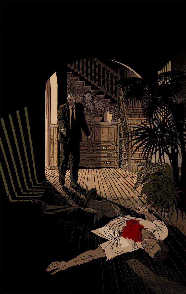 Ilustración de portada para la novela negra de Andreu Martín dentro de la serie sobre la detective privado Sonia Ruiz, la imagen muestra a una agente del CNI tras disparar a su compañero que ha muerto