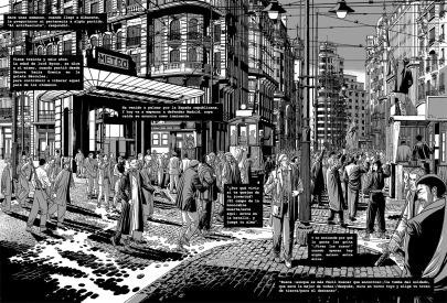 Ilustración que muestra un desfile de brigadistas por la Gran Vía de Madrid durante la guerra civil española, en 1936