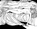 Ilustración para novela Índigo Mar de Ignacio del Valle que muestra a una pareja desnuda en la cama tras haber practicado sexo