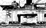 Ilustración para la novela Índigo Mar de Ignacio del Valle que muestra una plataforma petrolífera abandonada