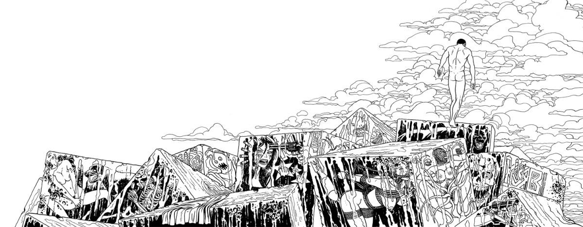 Ilustración a tinta para la portada de la novela Índigo Mar de Ignacio del Valle que muestra a un hombre desnudo en un espigón repleto de graffitis violentos y lascivos, de fondo la llegada de una tormenta
