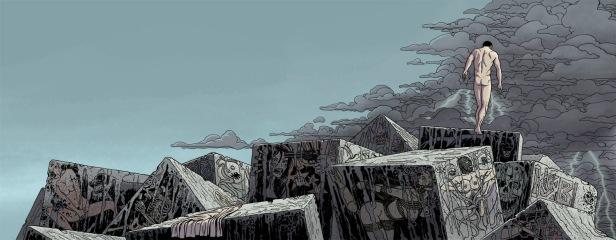 Ilustración para la portada de la novela Índigo Mar de Ignacio del Valle que muestra a un hombre desnudo en un espigón repleto de graffitis violentos y lascivos, de fondo la llegada de una tormenta