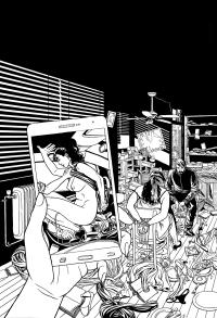 Versión a tinta de la portada para la novela negra Nada sucio de Lorenzo Silva y Noemí Trujillo dentro de la serie de la detective privado Sonia Ruiz, la ilustración muestra un chantaje mediante un vídeo grabado con un teléfono móvil en el que se ve a una mujer manteniendo sexo en un coche y, por otra parte, el secuestro de una mujer amordazada y atada a la que intimida un encapuchado con una pistola