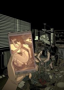 ilustración de portada para la novela negra Nada sucio de Lorenzo Silva y Noemí Trujillo dentro de la serie de la detective privado Sonia Ruiz, la ilustración muestra un chantaje mediante un vídeo grabado con un teléfono móvil en el que se ve a una mujer manteniendo sexo en un coche y, por otra parte, el secuestro de una mujer amordazada y atada a la que intimida un encapuchado con una pistola