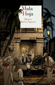 Ilustracion historica para la portada de la novela de Alfonso Mateo Sagasta que muestra las diferencias sociales entre esclavos y ricos en la cuba del siglo XIX