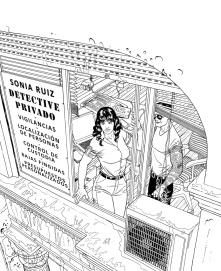 "Ilustracion a a tinta para la cubierta de la novela ""El Club de la Élite"" de Esteban navarro"